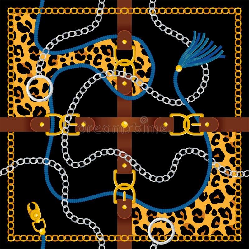 与传送带银色金链子的无缝的样式 向量例证