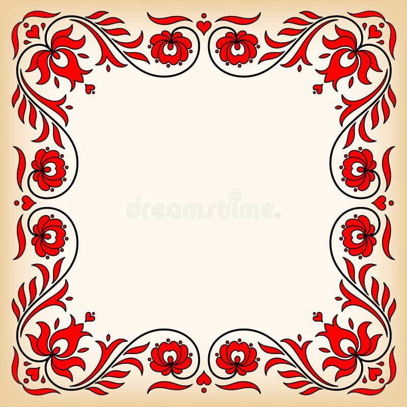与传统匈牙利花卉动机的葡萄酒框架 库存图片