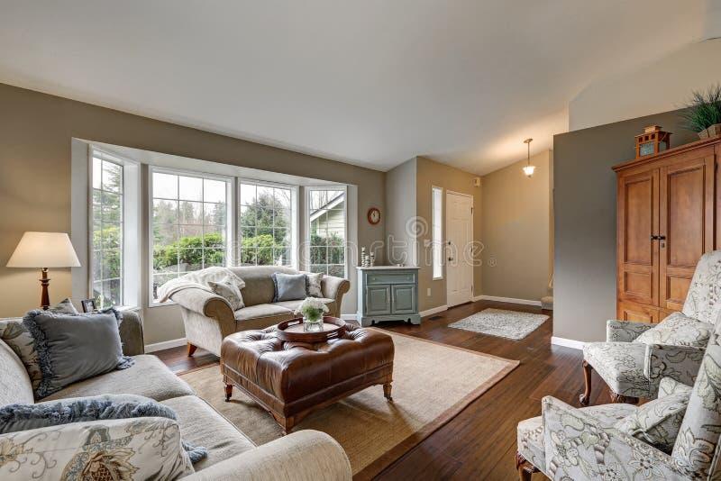 与传统美国设计的舒适家庭娱乐室内部 库存图片