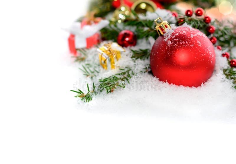 与传统装饰的圣诞节边界 免版税库存图片