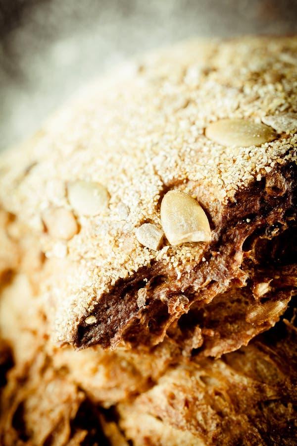 与传统面包的种子的酥脆外壳 免版税库存照片