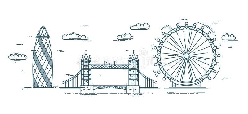 与伦敦地标的现代平的线例证 向量例证