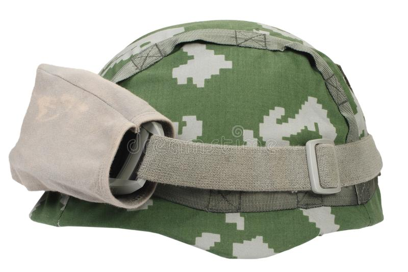 与伪装盖子和防护眼镜的凯夫拉尔盔甲 库存图片