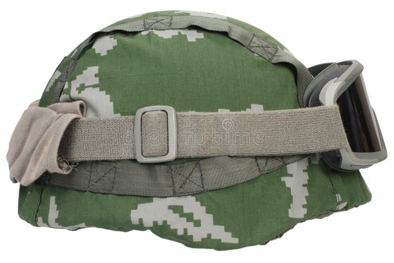 与伪装盖子和防护眼镜的凯夫拉尔盔甲 免版税图库摄影