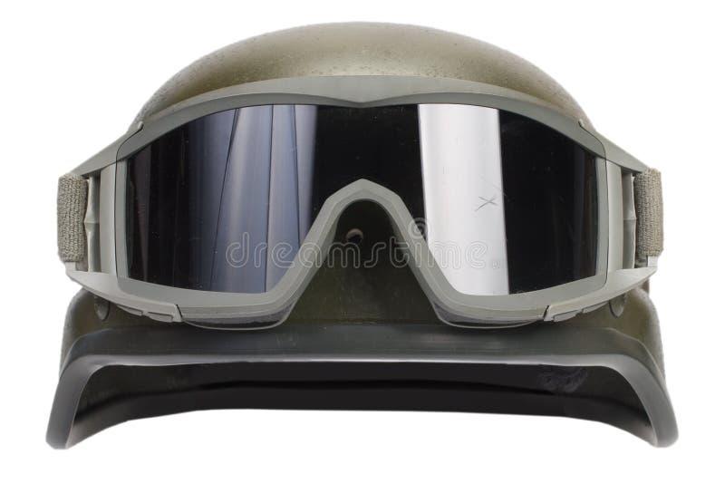 与伪装盖子和防护眼镜的凯夫拉尔盔甲 免版税库存图片
