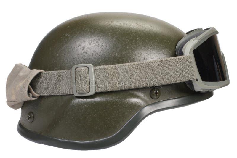 与伪装盖子和防护眼镜的凯夫拉尔盔甲 免版税库存照片