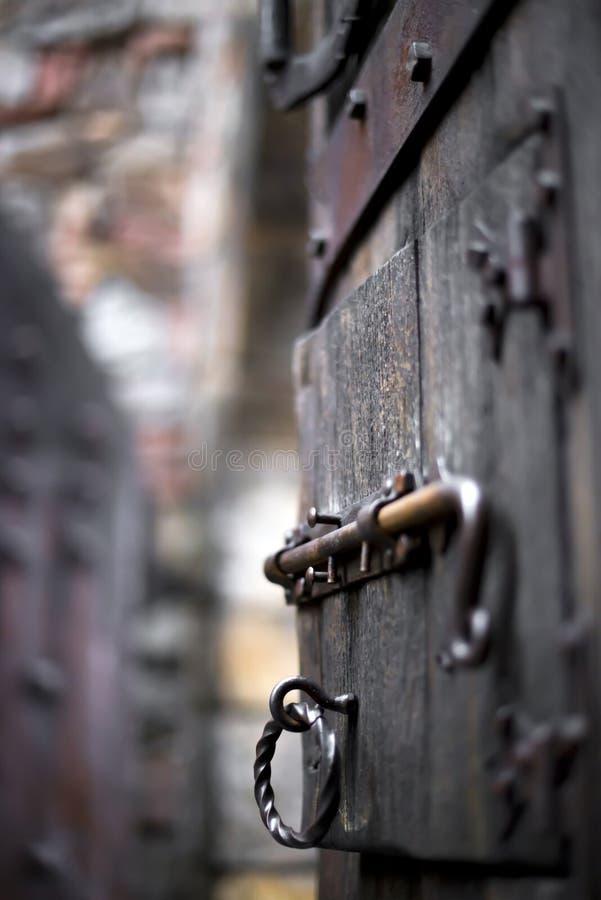 与伪造的deadbolt的被毁坏的老开放木葡萄酒门 库存照片