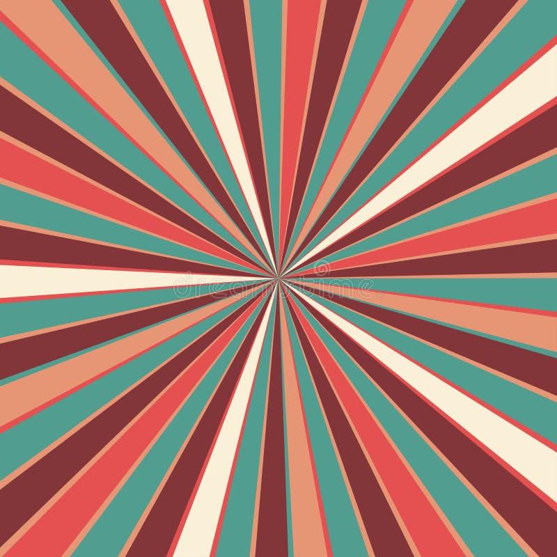 与伯根地红色桃红色桃子小野鸭蓝色和米黄白色葡萄酒色板显示的减速火箭的starburst或旭日形首饰背景样式  库存例证