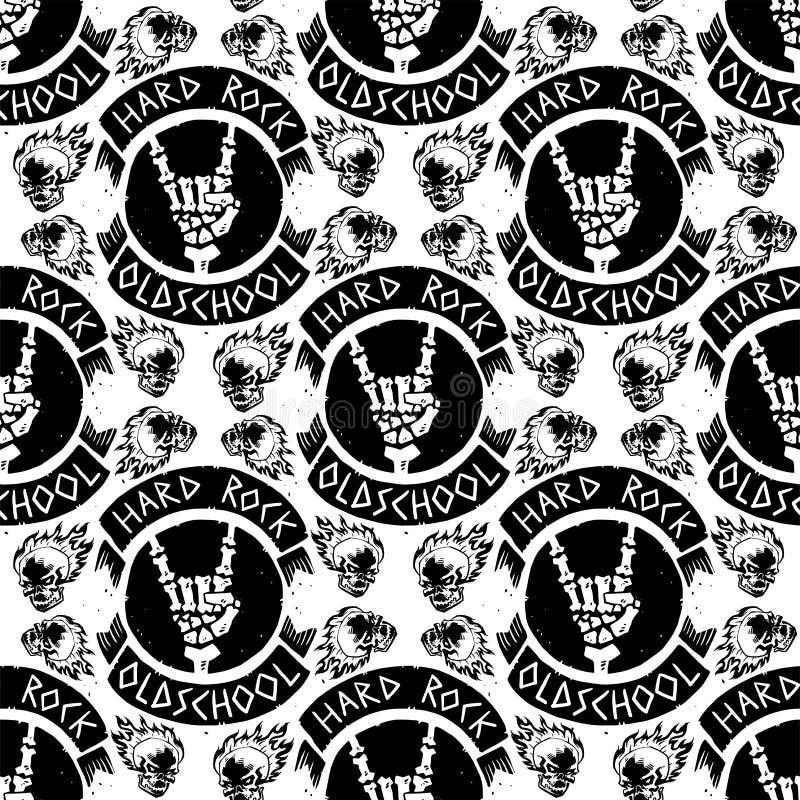 与低劣的头骨无缝的样式背景坚硬合理的贴纸象征的重的摇滚乐徽章传染媒介葡萄酒标签 向量例证