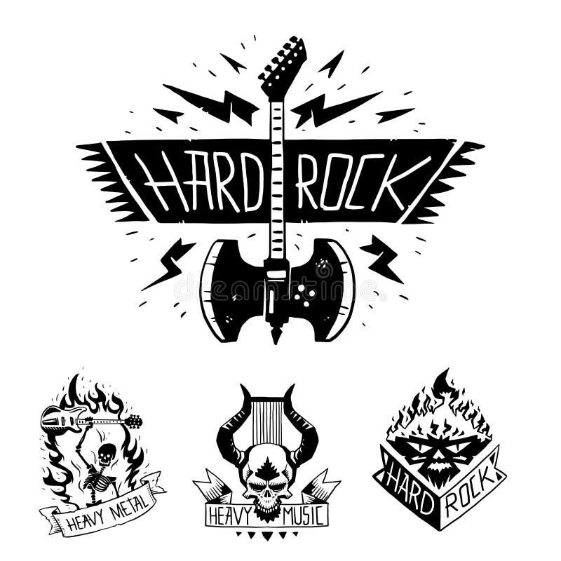 与低劣的头骨标志坚硬摇滚n卷声音贴纸象征例证的重的摇滚乐传染媒介徽章葡萄酒标签 向量例证