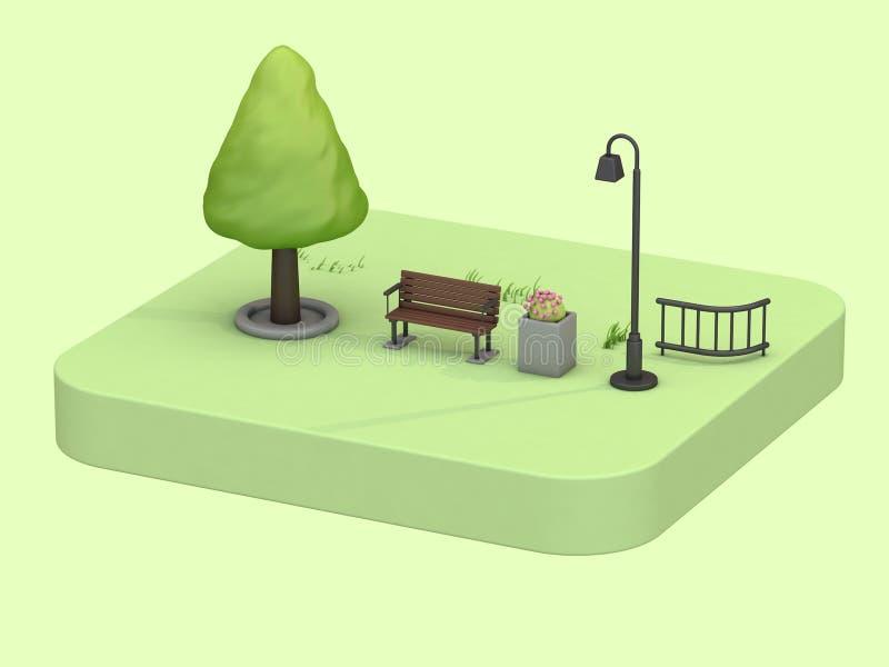与低多树椅子灯花动画片样式3d翻译的等量绿色公园夏天概念 库存例证