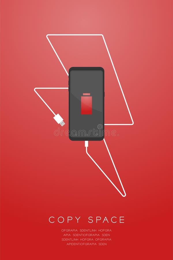 与低电池象,由usb充电器缆绳例证做的雷电形状的智能手机黑颜色平的设计 库存例证