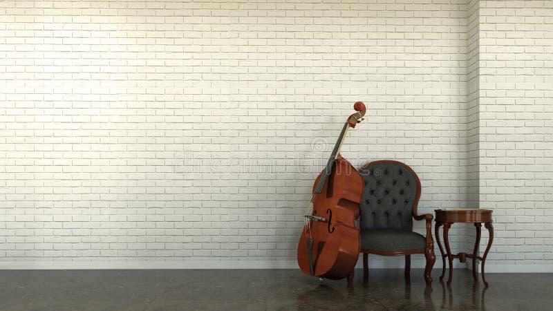 与低音提琴的内部场面 皇族释放例证