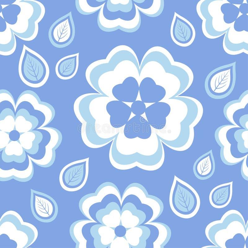 与佐仓开花和叶子的无缝的样式蓝色 向量例证