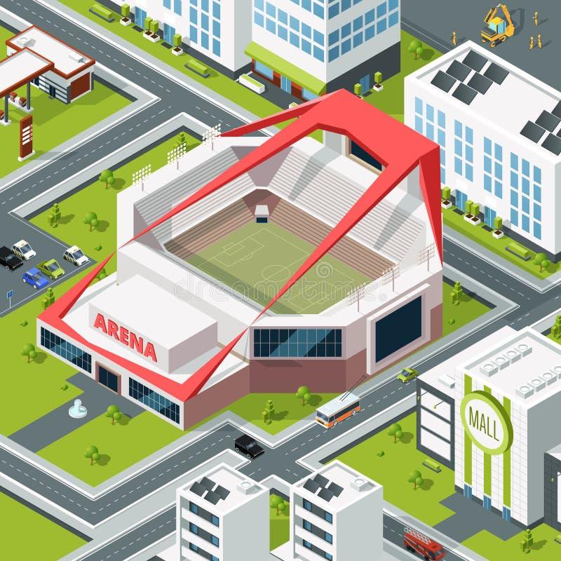 与体育场现代大厦的等量都市风景  库存例证