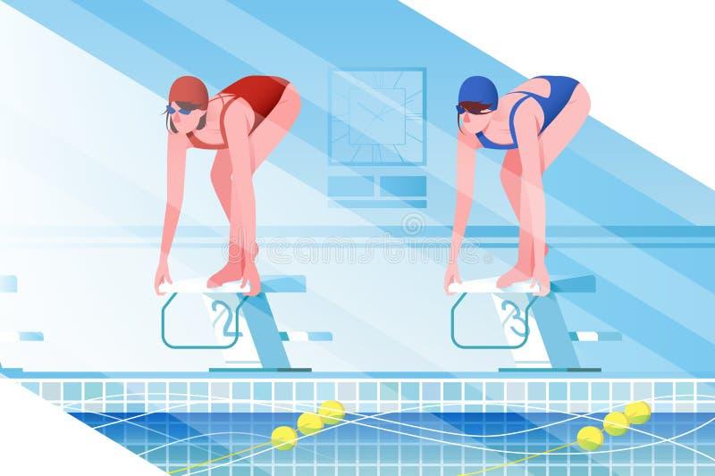 与体育泳装的平的年轻女人剪影在游泳场 皇族释放例证