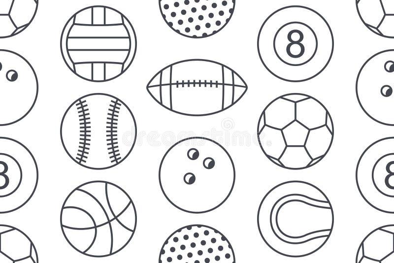 与体育球的汇集的无缝的样式 向量例证