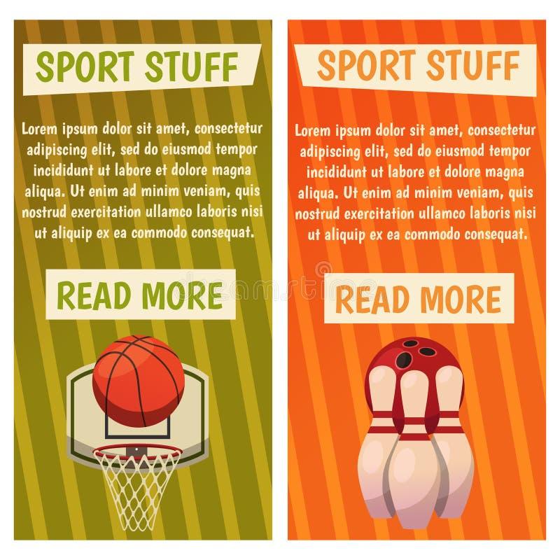 与体育象的传染媒介横幅 前浆手 篮球 与篮子,球,九柱游戏用的小柱的现成的海报 皇族释放例证