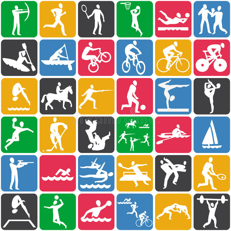 与体育运动图标的模式 皇族释放例证