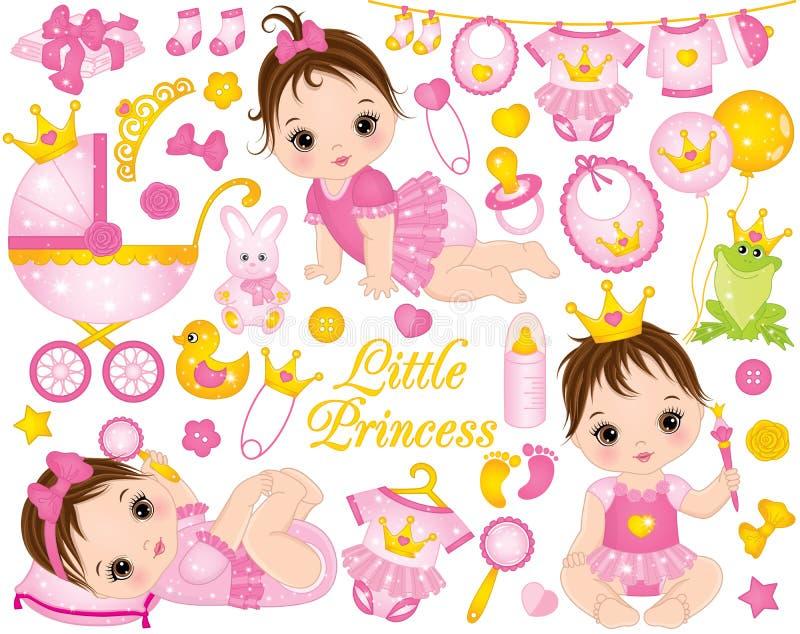 与作为公主和各种各样的辅助部件打扮的逗人喜爱的女婴的传染媒介集合图片