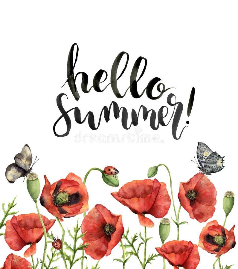 与你好夏天字法的水彩花卉卡片 手画 向量例证
