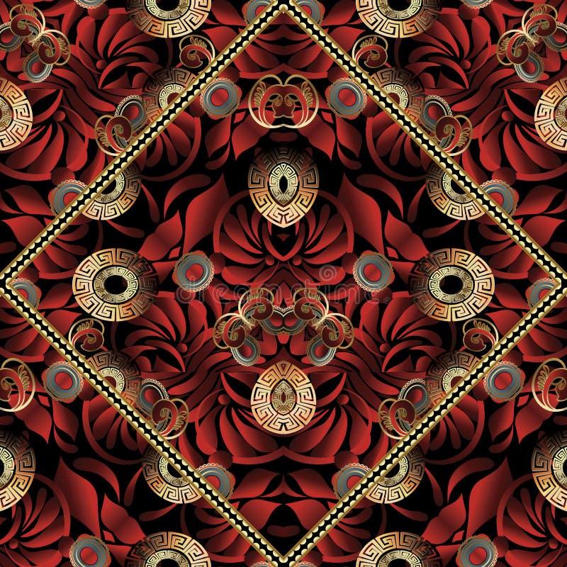 与佩兹利的红色花卉希腊关键无缝的样式开花 皇族释放例证