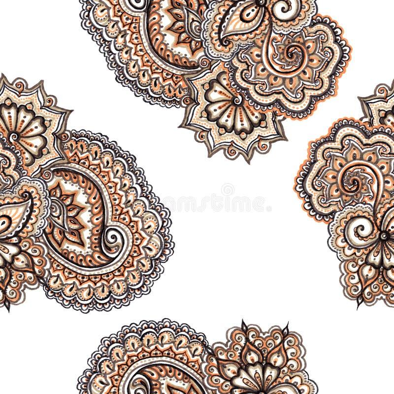 与佩兹利的装饰装饰花饰 重复华丽样式 向量例证