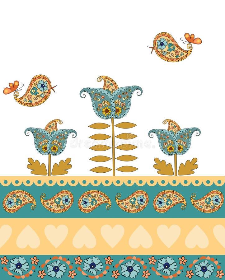 与佩兹利装饰品、花和鸟的典雅的无缝的边界 库存例证