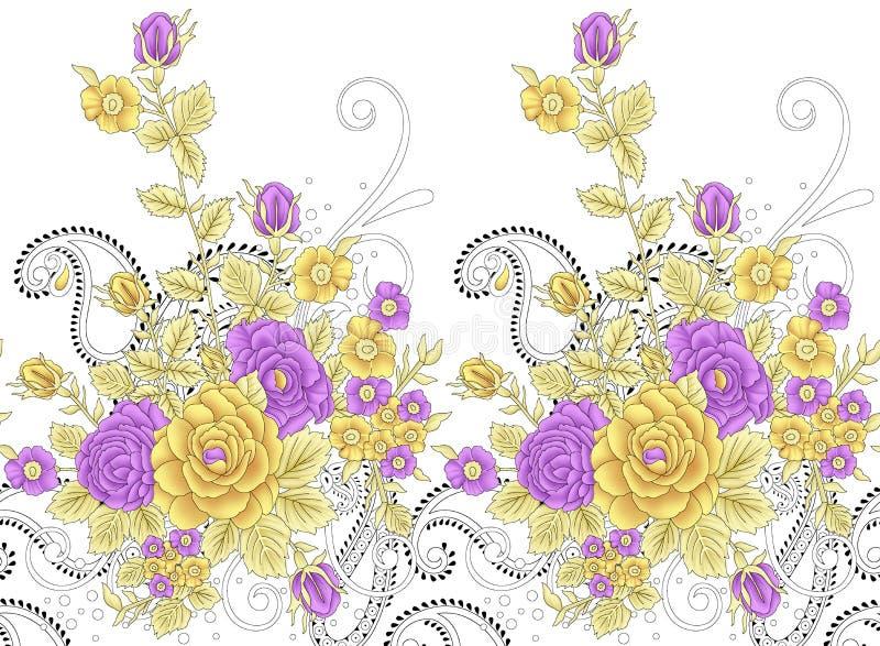 与佩兹利设计的无缝的传统印度花卉边界 皇族释放例证