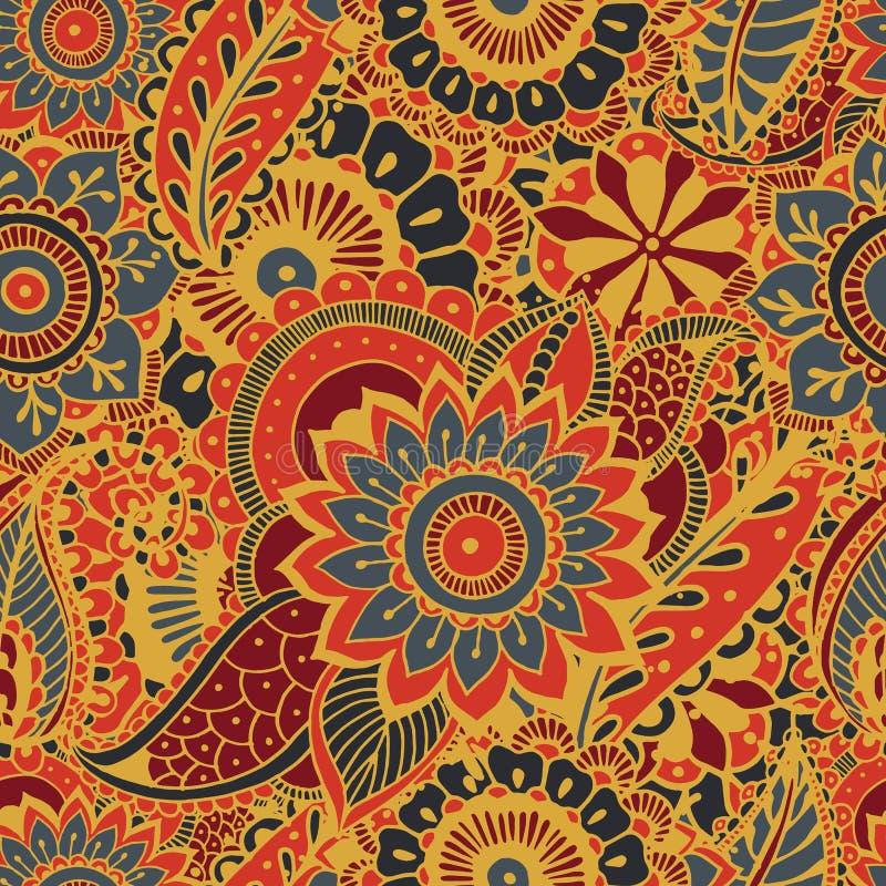 与佩兹利mehndi元素的明亮的无缝的样式 与花卉传统印地安装饰品的手拉的墙纸 库存例证