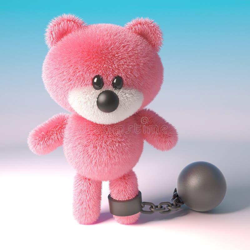 与佩带锁链的桃红色蓬松毛皮的淘气玩具熊作为处罚,有点苛刻,3d例证 向量例证