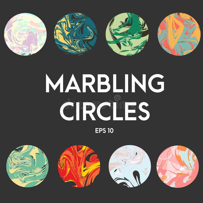 与使有大理石花纹的作用的抽象艺术性的传染媒介圈子 例证,盖子,设计元素,圆的时髦贴纸 库存例证