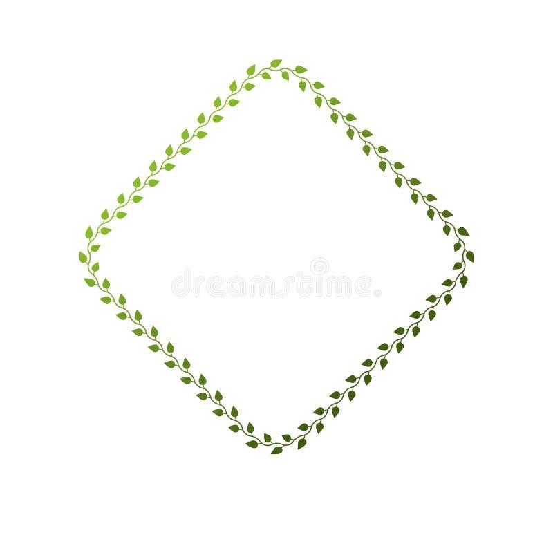 与使用花卉装饰和绿色叶子被创造的空白的拷贝空间的维多利亚女王时代的艺术传染媒介rhomb框架 纹章学模板 库存例证