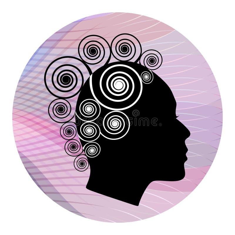 与侈奢的螺旋发型的妇女顶头外形在桃红色波浪背景 黑白仿效 女性面孔外形s 向量例证