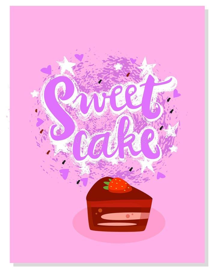 与例证的难看的东西标志甜蛋糕 手拉的形状 您的网的象,印刷品,纺织品,织品,时尚 向量 库存例证