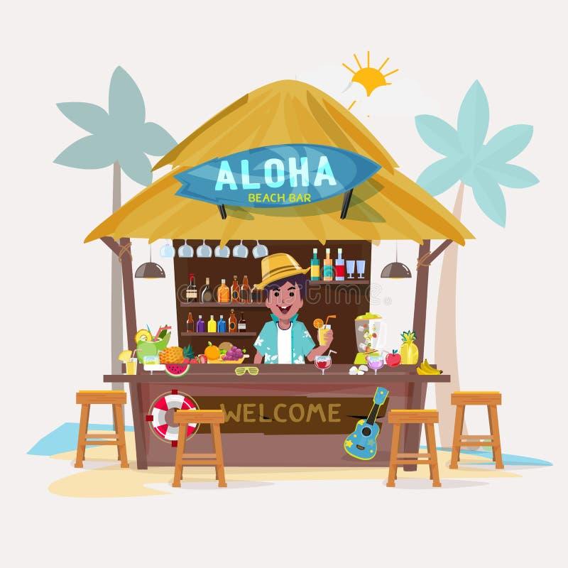 与侍酒者字符的海滩酒吧 咖啡馆酒吧平房 向量例证