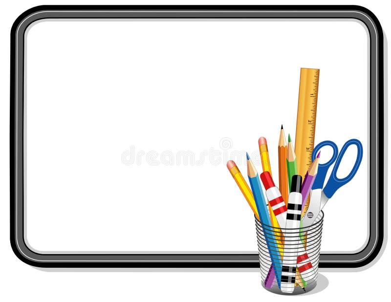 与供应的Whiteboard家、学校和办公室的 库存例证