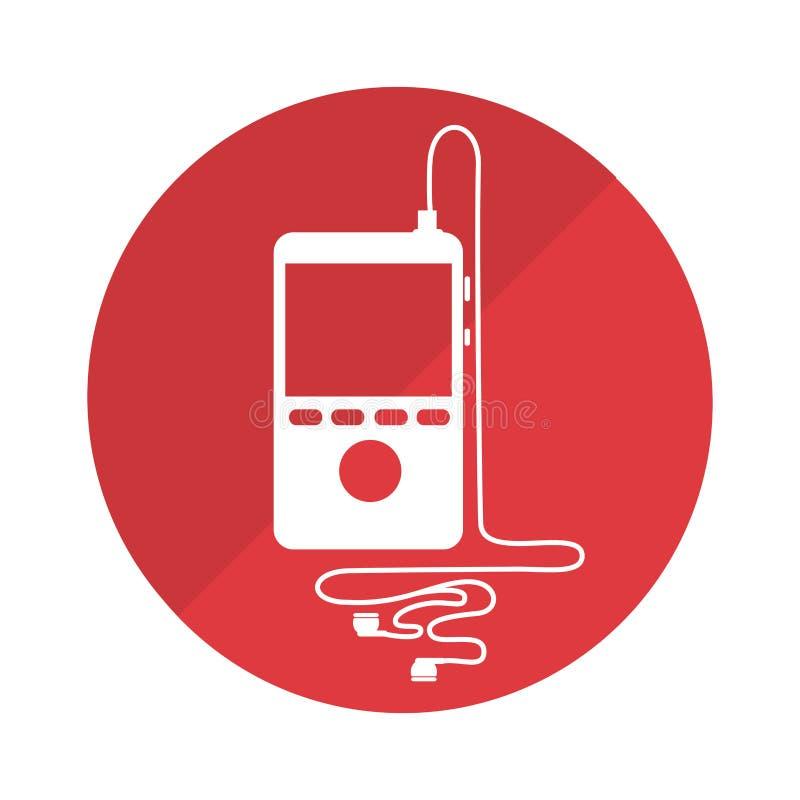 与便携式的音乐设备和耳机的圆的框架 库存例证