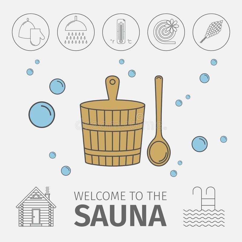 与俄国banya的元素的概念性海报 被设置的图标 库存例证