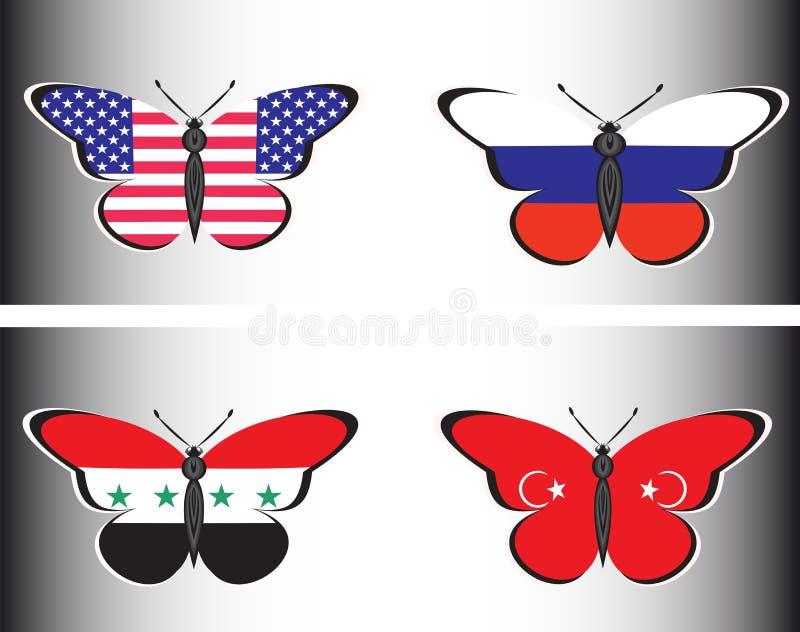 与俄罗斯、美国、叙利亚和土耳其的旗子的Butterflis 向量例证