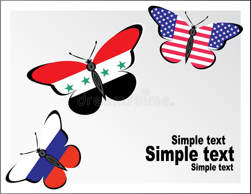 与俄罗斯、美国和叙利亚的旗子的Butterflis 皇族释放例证
