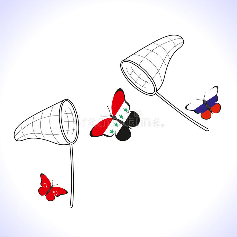 与俄罗斯的旗子的Butterflis,土耳其和叙利亚和手网 库存例证