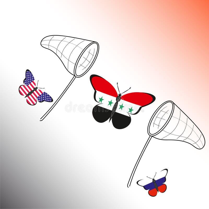 与俄罗斯的旗子的Butterflis,美国和叙利亚和手网 向量例证