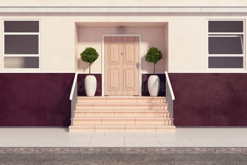 与俏丽的门廊前面的大厦 库存例证