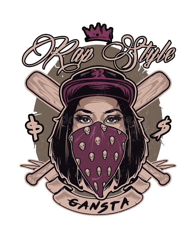 与俏丽的Hip Hop赃物女孩面孔的象征 皇族释放例证