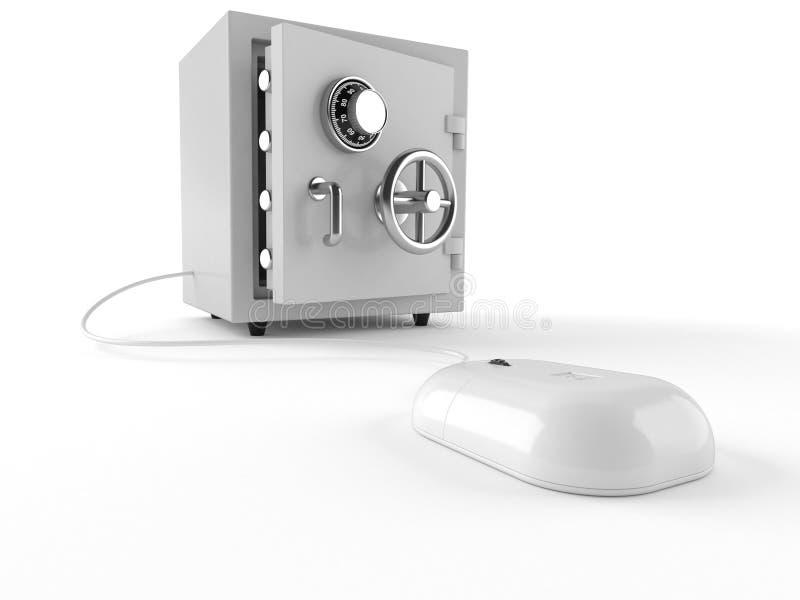与保险柜的计算机老鼠 向量例证