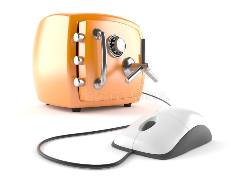 与保险柜的计算机老鼠 库存例证
