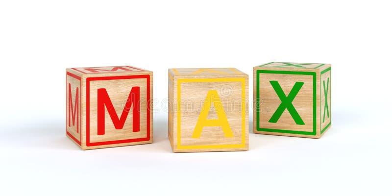 与信件的被隔绝的木玩具立方体与最大名字 向量例证