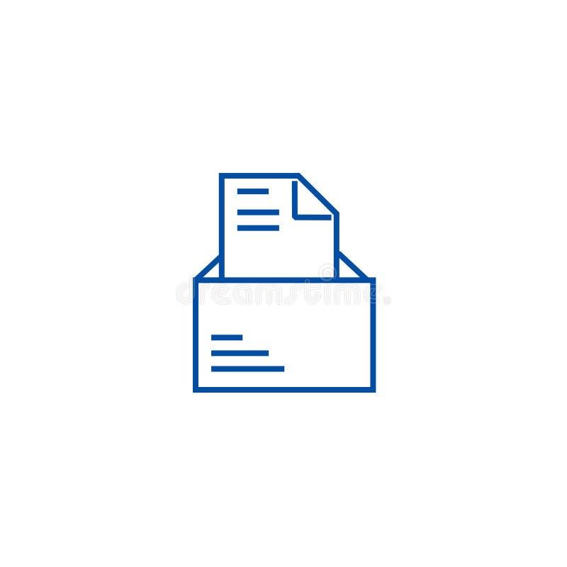 与信件线象概念的被打开的电子邮件 与信件平的传染媒介标志,标志,概述例证的被打开的电子邮件 库存例证