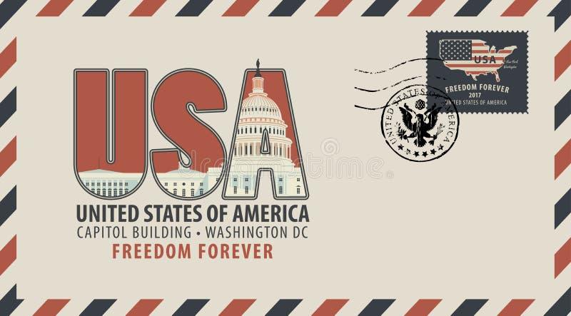 与信件美国和美国国旗的传染媒介信封 皇族释放例证